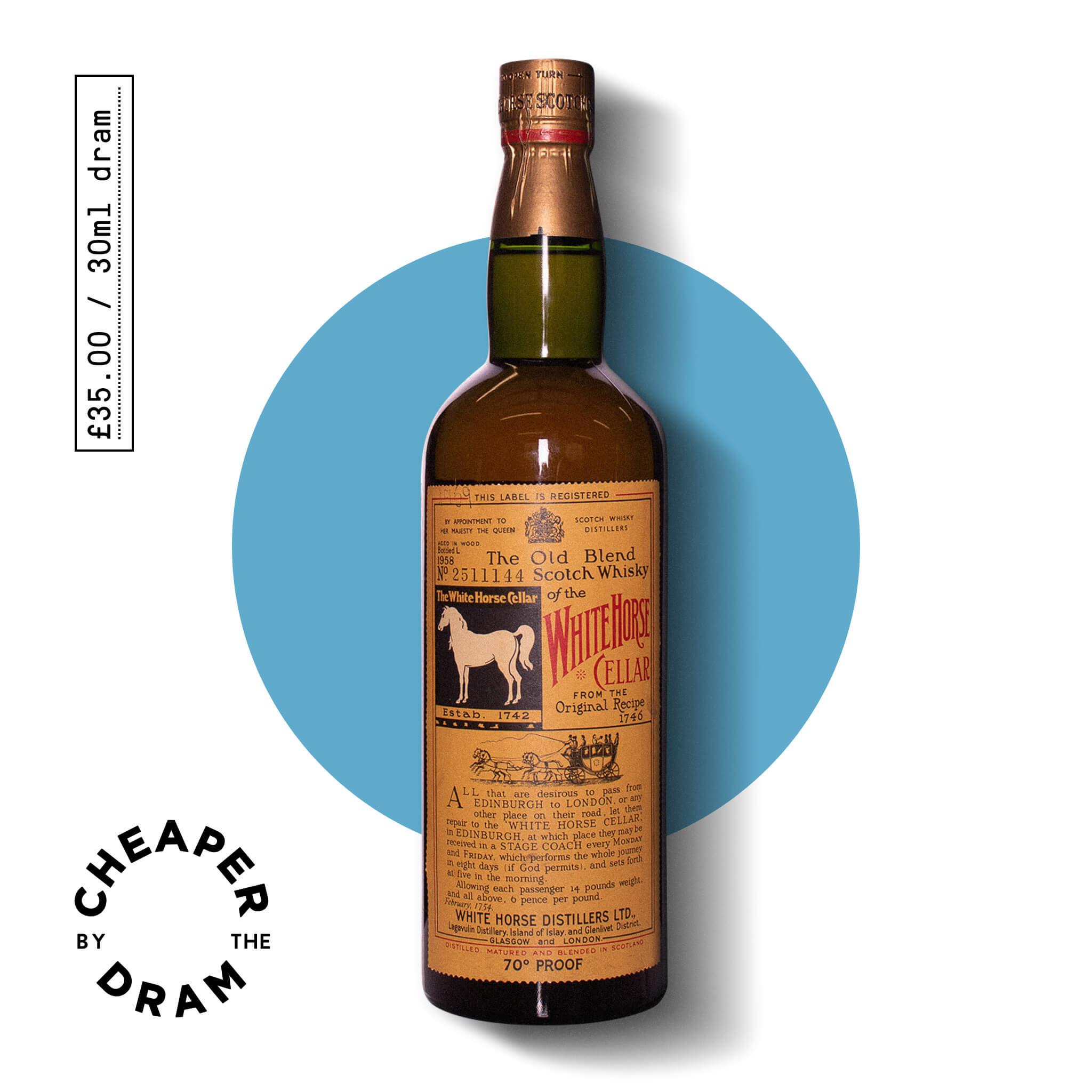 A bottle of CBTD NO.08 White Horse Blended Whisky 1958