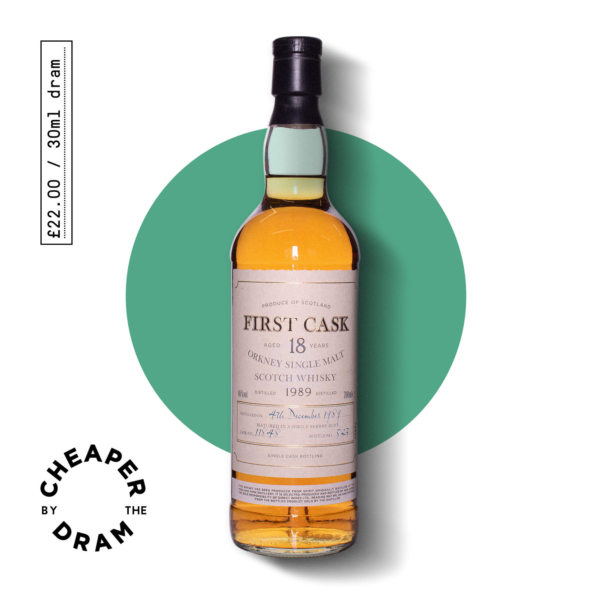 A bottle of CBTD NO.14 Highland Park 1989 18 Year old bottled by First Cask