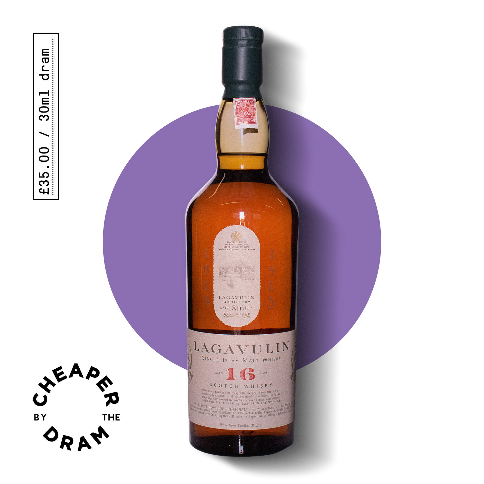A bottle of CBTD NO.24 Lagavulin 16 year old White Horse distillers